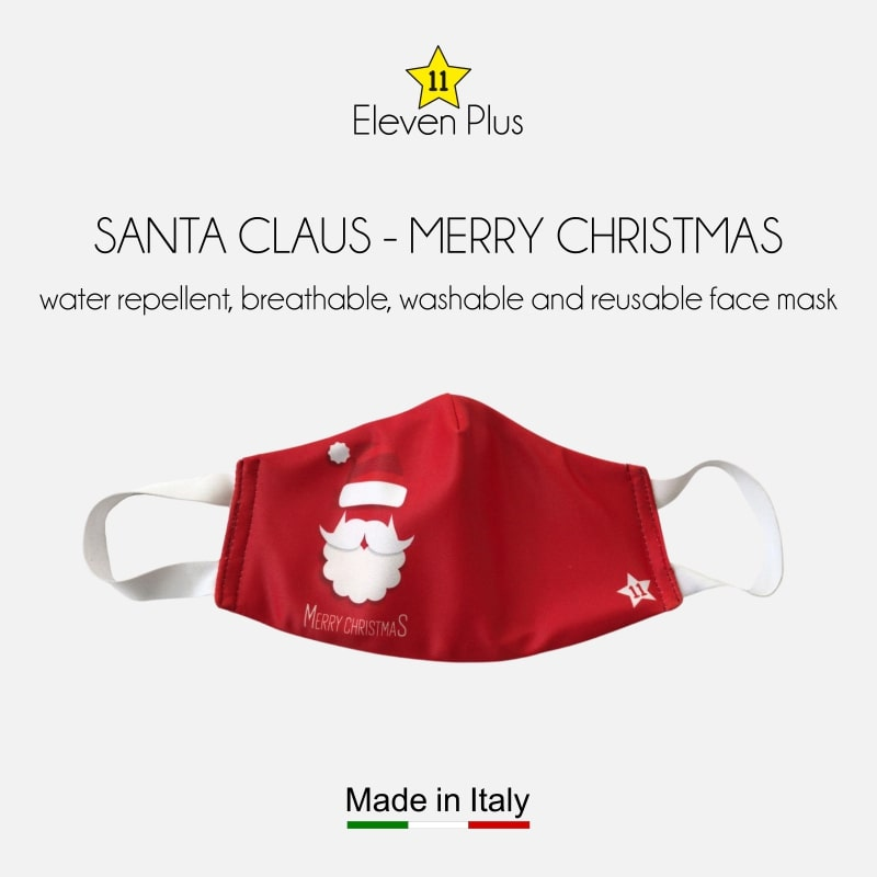 water repellent breathable washable reusable christmas face mask with santa claus and merry christmas for kids
