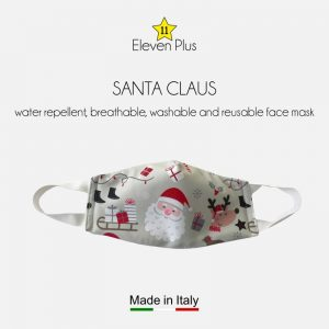 water repellent breathable washable reusable christmas face mask with santa claus for kids