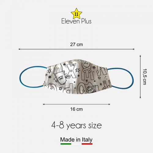 water repellent breathable washable reusable face mask alphabet pattern colourable fabric for boys 4 8 years