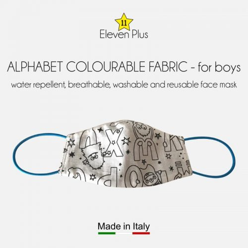 water repellent breathable washable reusable face mask alphabet pattern colourable fabric for boys