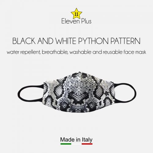 water repellent breathable washable reusable face mask black and white python pattern for women