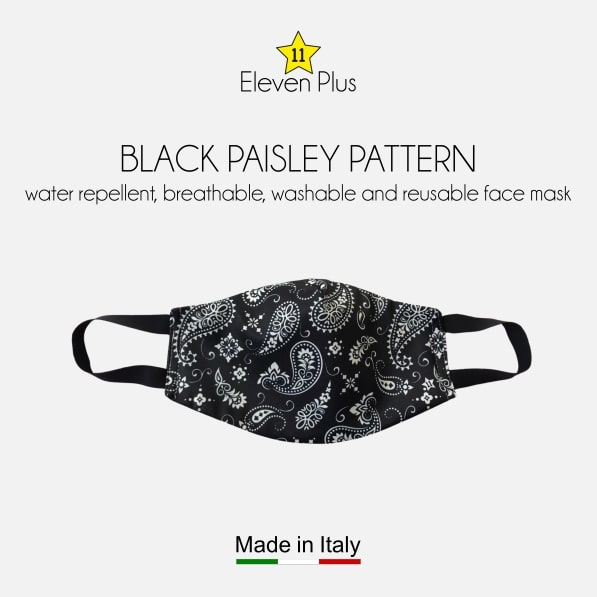 water repellent breathable washable reusable face mask black paisley pattern for men