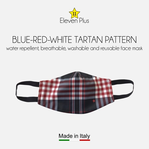 water repellent breathable washable reusable face mask blue red white tartan pattern for men