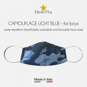 water repellent breathable washable reusable face mask camouflage light blue for boys