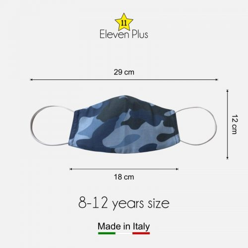 water repellent breathable washable reusable face mask camouflage light blue for boys 8 12 years