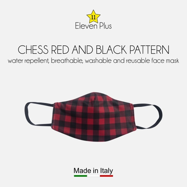 water repellent breathable washable reusable face mask chess red and black pattern for men