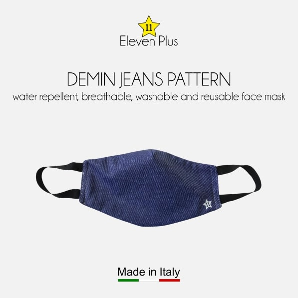 water repellent breathable washable reusable face mask demin jeans pattern for men