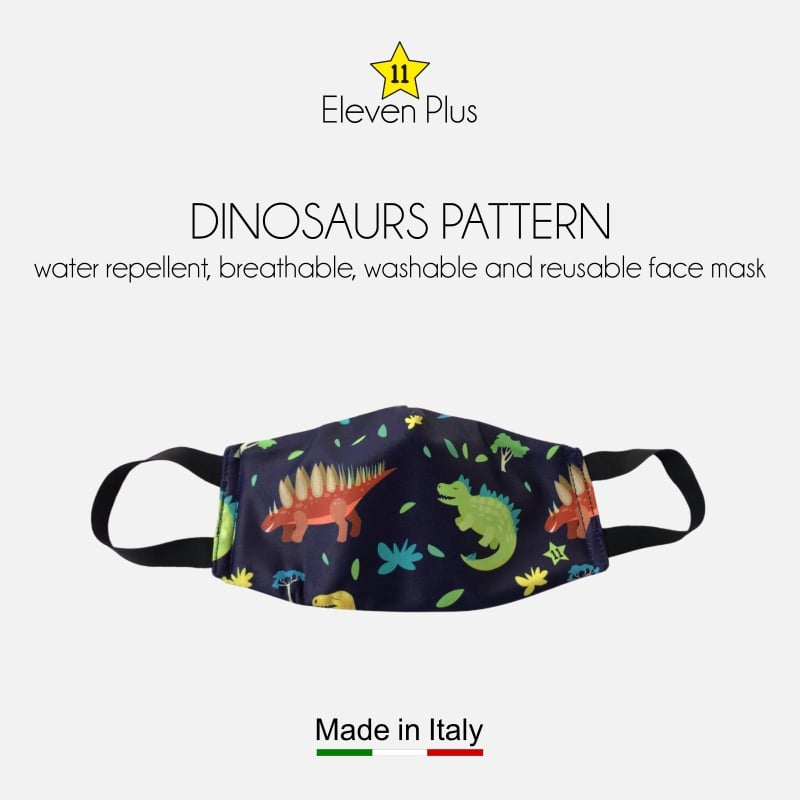 water repellent breathable washable reusable face mask dinosaurs pattern for boys