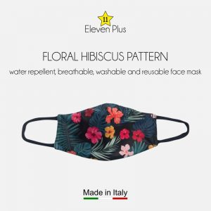 water repellent breathable washable reusable face mask floral hibiscus pattern for women