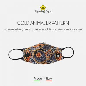 water repellent breathable washable reusable face mask gold animalier pattern for women