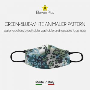 water repellent breathable washable reusable face mask green blue white animalier pattern for women