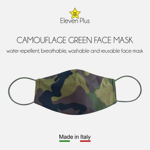 water repellent breathable washable reusable face mask green camouflage