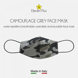 water repellent breathable washable reusable face mask grey camouflage