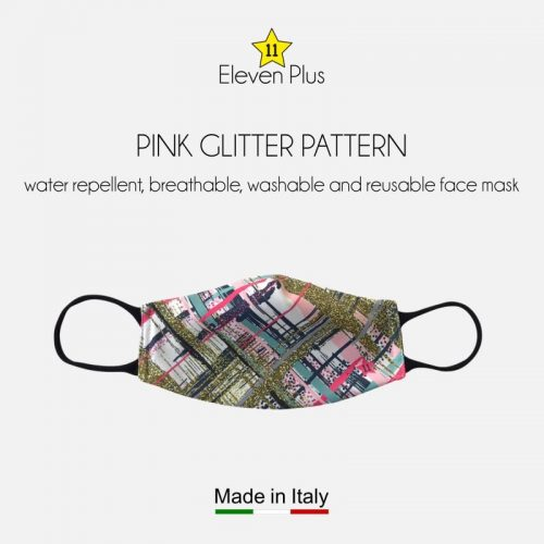 water repellent breathable washable reusable face mask pink glitter pattern for women