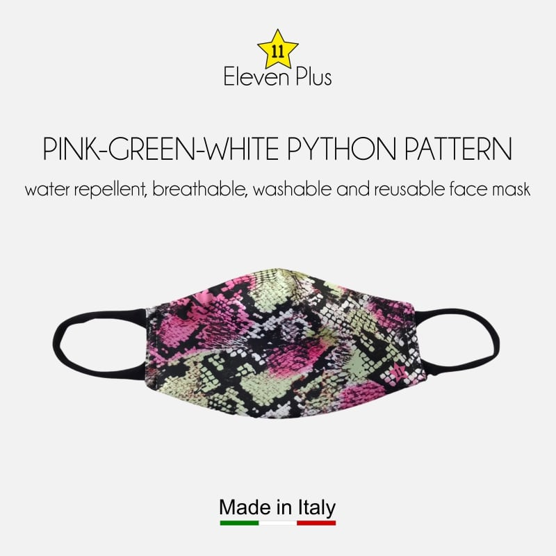 water repellent breathable washable reusable face mask pink green white python pattern for women