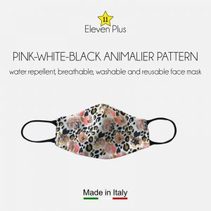 water repellent breathable washable reusable face mask pink white black animalier pattern for women