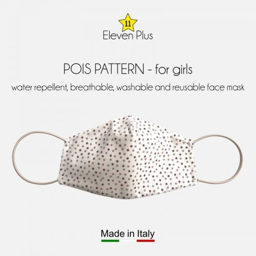 water repellent breathable washable reusable face mask pois pattern for girls