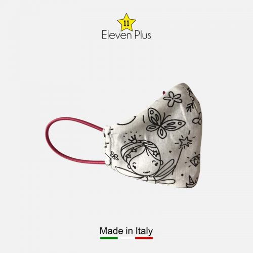 water repellent breathable washable reusable face mask princess pattern colourable fabric for girls 3