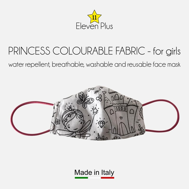 water repellent breathable washable reusable face mask princess pattern colourable fabric for girls