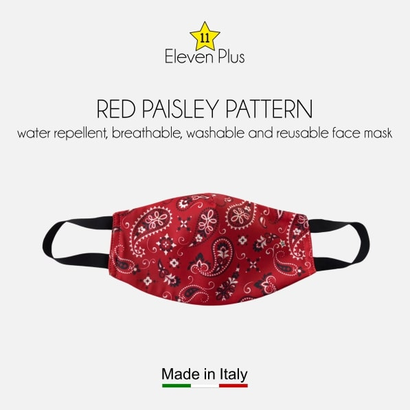 water repellent breathable washable reusable face mask red paisley pattern for men