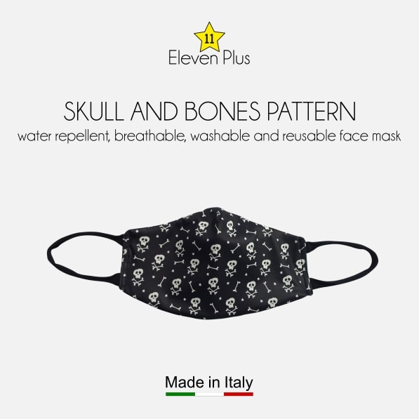 water repellent breathable washable reusable face mask skull and bones pattern for men