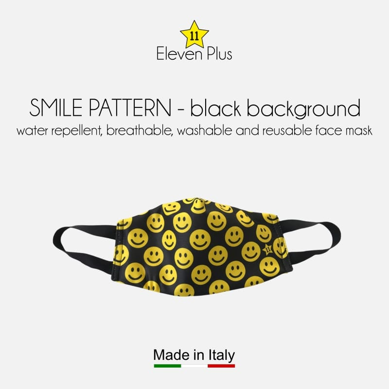 water repellent breathable washable reusable face mask smile pattern black background for kids