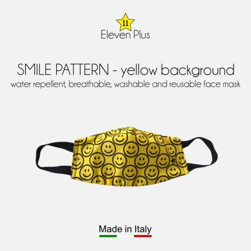 water repellent breathable washable reusable face mask smile pattern yellow background for kids
