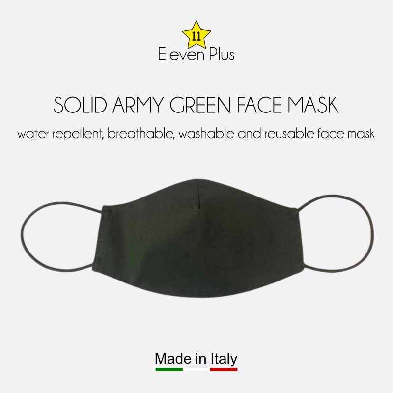 water repellent breathable washable reusable face mask solid army green