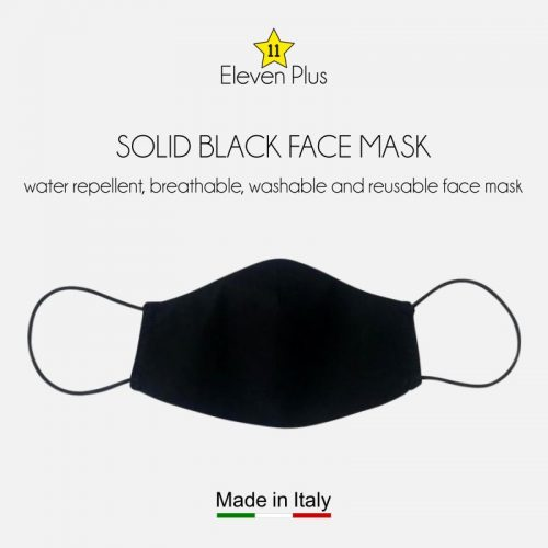 water repellent breathable washable reusable face mask solid black