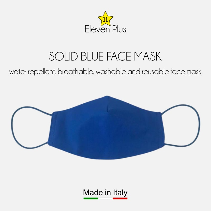 water repellent breathable washable reusable face mask solid blue