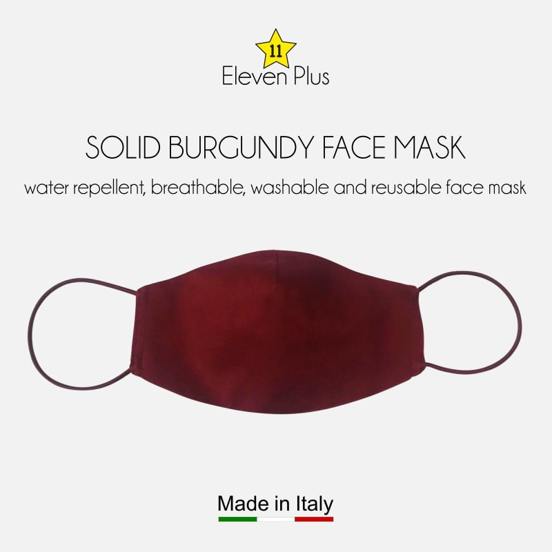 water repellent breathable washable reusable face mask solid burgundy