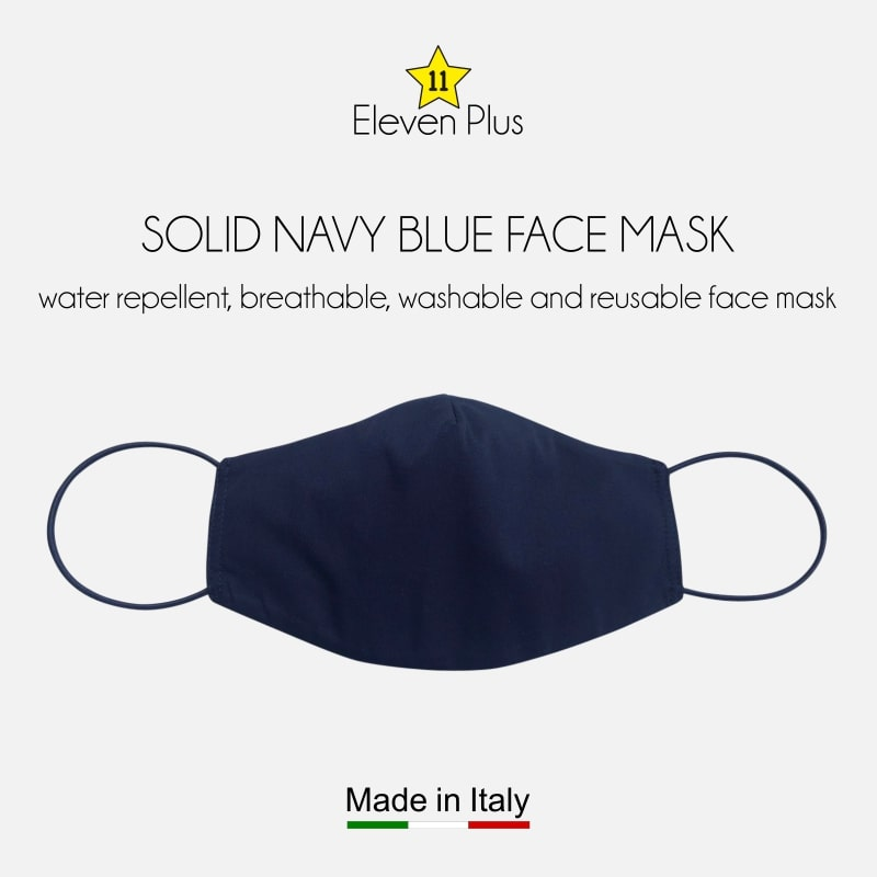 water repellent breathable washable reusable face mask solid navy blue