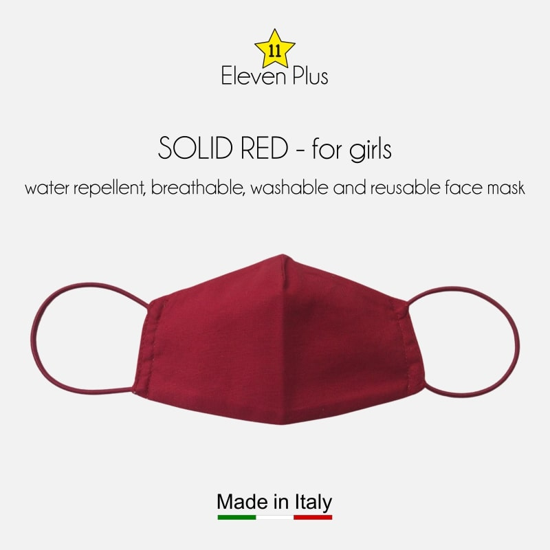 water repellent breathable washable reusable face mask solid red for girls