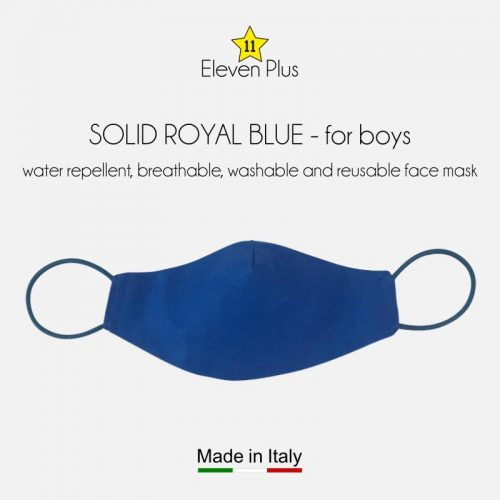 water repellent breathable washable reusable face mask solid royal blue for boys
