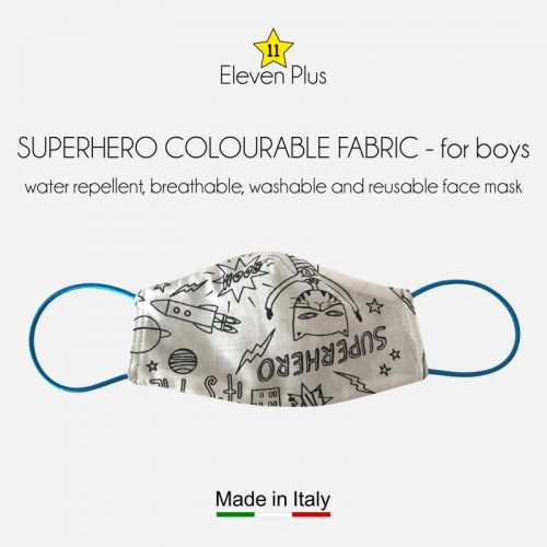 water repellent breathable washable reusable face mask superhero pattern colourable fabric for boys