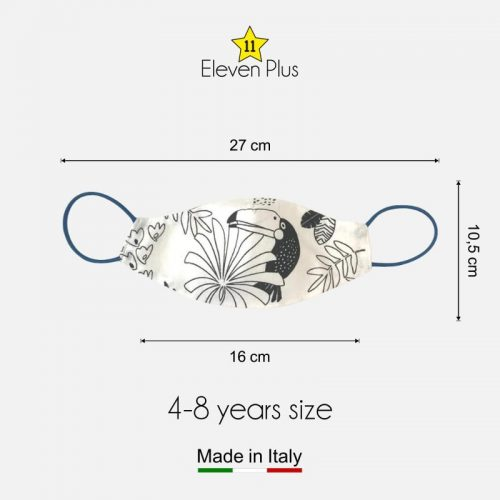 water repellent breathable washable reusable face mask toucan pattern colourable fabric for boys 4 8 years