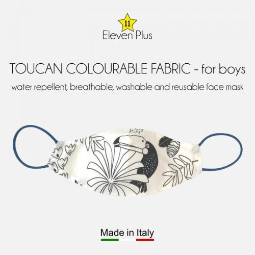 water repellent breathable washable reusable face mask toucan pattern colourable fabric for boys