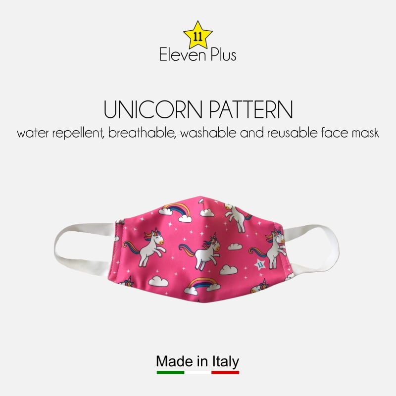 water repellent breathable washable reusable face mask unicorn pattern for girls